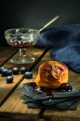 Food Photography Baked Apple with blueberries jam