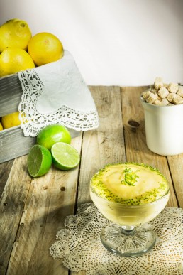 Food Photography Lemon Pudding with lime zest