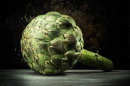 Food photography close up of artichoke