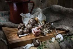 Food photography of mixed mushrooms
