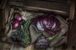 Food Photography vegetables in a case