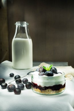 Food Photography with Bueberry Cheesecake and milk